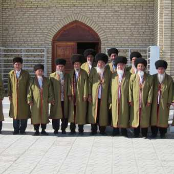 Turkemen elders in Merv, Turkmenistan