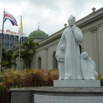 Jorge Deridia's sculpture of Pope John Paul II, at the Metropolitan Cathedral, San Jose