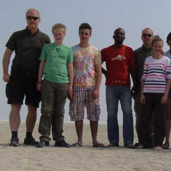 Group posing at Etosha salt pan