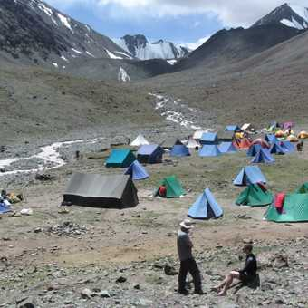 Looking down on base camp