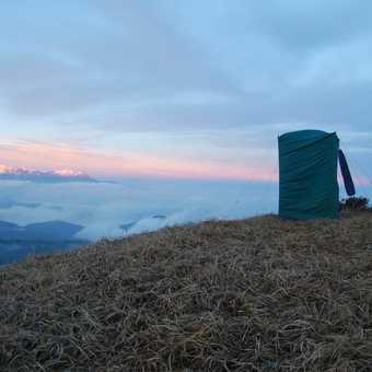 Toilet tent and view at Sabargam, Kanchenjunga behind