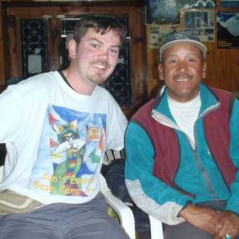 Me with Lhakpa Dorje, a lodge owner in Kyangjoma, who climbed Everest twice!