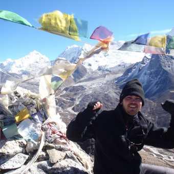 Me at the top of Nangkartshang with Makalu behind