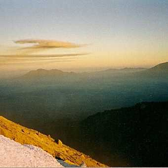 The view and the loose scoria at the top of Mt. Semeru 3600 meters above sea level.