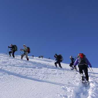 Climbing up through deep snow on Bogatin Plateau