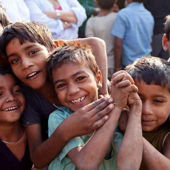 Happy children in the village