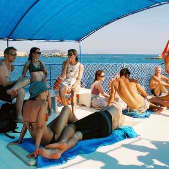 Onboard the dive boat