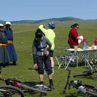 Mongol herders at lunch stop