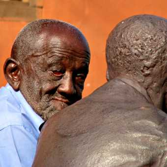 Man and sculpture