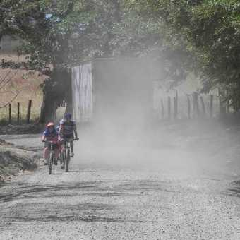 Riding on a dusty road in Costa Rica