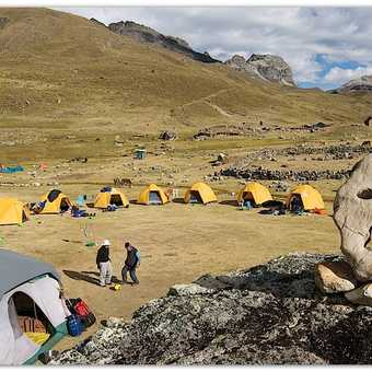 Campsite near the hamlet of Huayhuash and Huicho playing ball