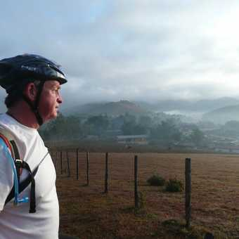 Misty morning for offroad cycle ride in Phonsavan