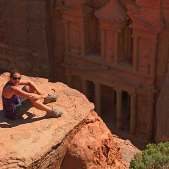 Maddie perched above Petra's Treasury