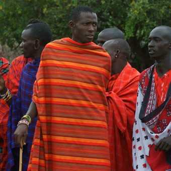 Masai menfolk gather to put on a dancing display for us on a visit to their village
