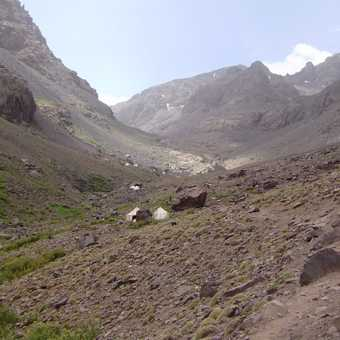 View up to Toubkal base camp.
