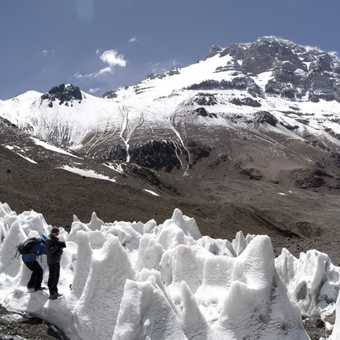 Andy and Hamid in some ice penitentes on the Upper Horcones Glacier.  Aconcagua in background