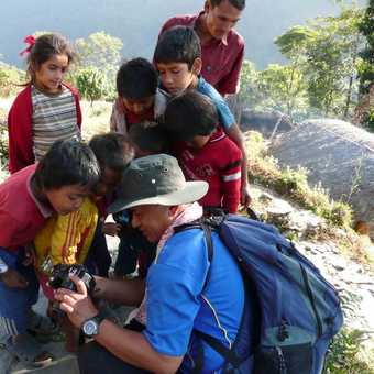 Exodus guide with local children