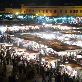 Food stalls in the square at Marrakech.