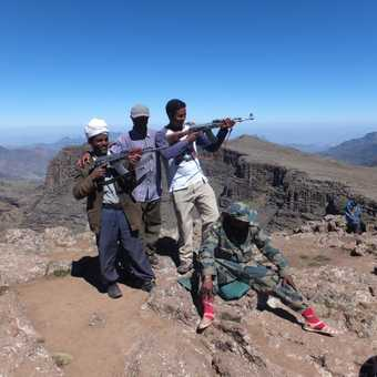 Scouts and guide posing on top of Ras Dashen.