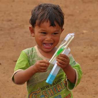 Happiness is a new toothbrush