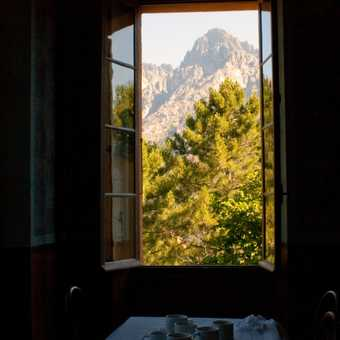 Through the window at breakfast time