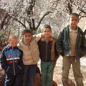 local kids in the Atlas almond groves