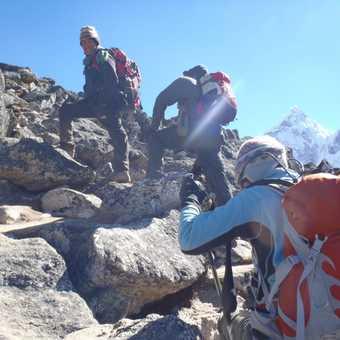 Climbing Nangkartshang Peak above Dingboche at 5,050