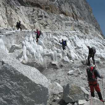 8/4 accessing the glacier roped up on rock and ice.