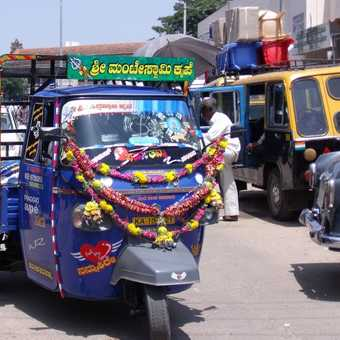 truck decorated with flowers