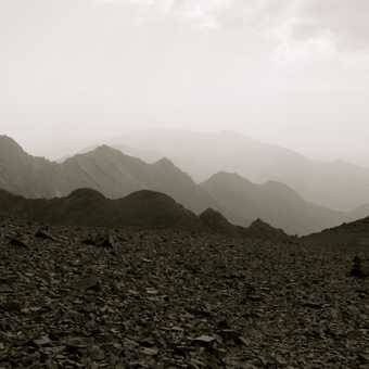 View of Toubkal and surrounding landscape from the summit of Ouanakrim