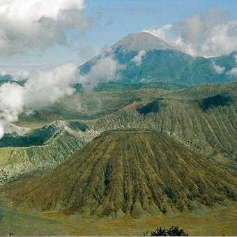 Mt. Semeru (3600 m a.s.l.) that we climbed in three days (far back ground). Mt. Batok (front ground)