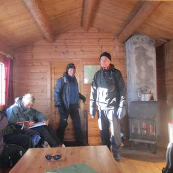 Warming up in a mountain hut