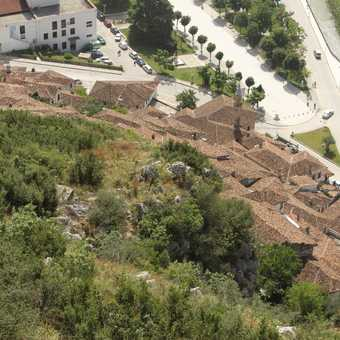 Looking down onto the Mangelami quarter from Berat Castle