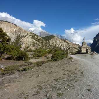 View towards Upper Pisang and Pisang Peak
