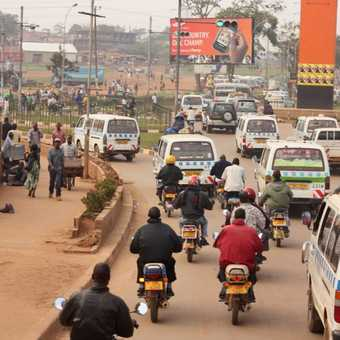 Rush hour traffic in Entebbe.