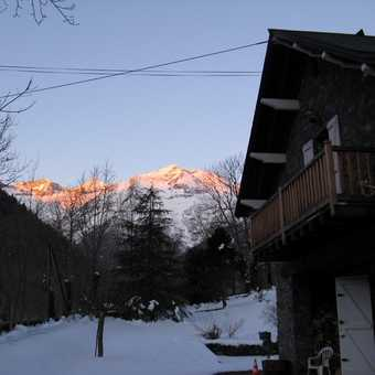 Rising sun catches the mountains as we leave La Feniere on Sunday morning