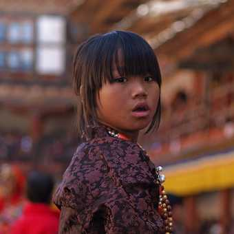 Girl in crowd at Wangdi festival