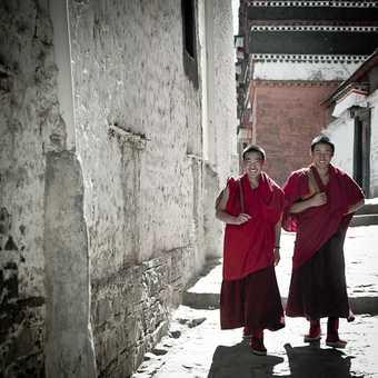 Tibetan attire at Tashillunpo Monstery, the traditional seat of the Panchen Lama