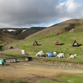 Kerlingarfjöll camp.  The large green tent is our mess tent, the blue tent is the kitchen.