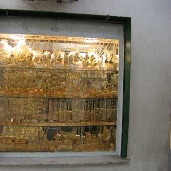 An example of one of many shops selling gold and silverware in Tripoli