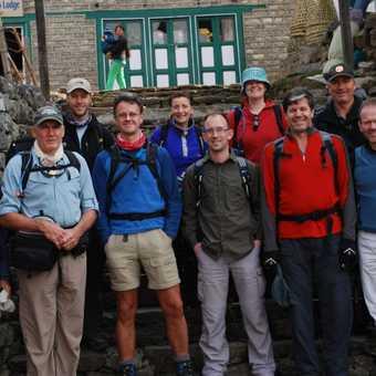 29/3 LUkla (2,800m) The trekkers - Front - Stuart (me), Peter (PJ), Mark W, Tim, Mark J - Rear Mark