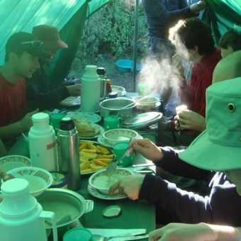 Breakfast; porridge, fruit, tea, toast, eggs, Milo! and Blue Band!