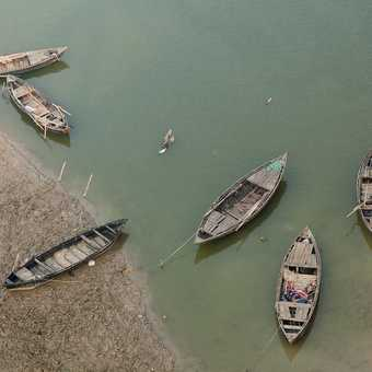 Boats on the river Ganges as we cross the bridge into Varanasi