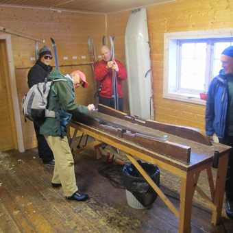 Preparing the skis for action