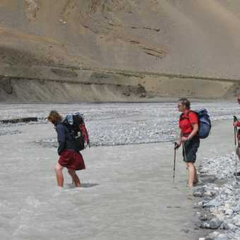 Another river crossing - Valerie Parkinson leads the way.