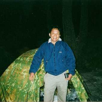 Ralph Rustam at the camp at almost the top. It was three in the morning to start climbing to the top