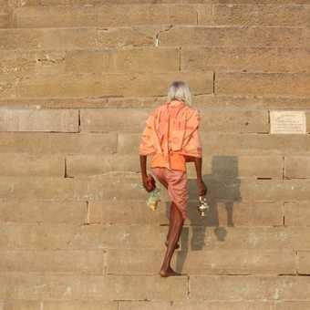 How many steps at the Varanasi ghats?