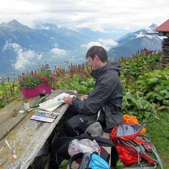 Neil Pittaway's sketchbook produced on the trek