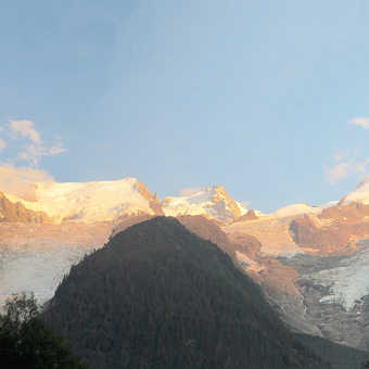 Neil Pittaway Sundown on the Aguille Du midi and the Bosson glacier from Bosson camp