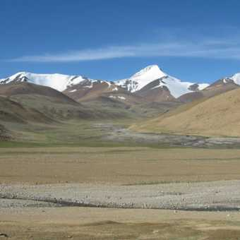 Typical Ladakh landscape with snow-capped mountains in the background.
